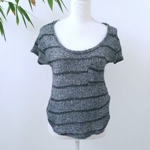 Urban Outfitters Gray Black Sheer Gauzey T Shirt